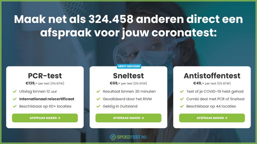 Coronatest Vledderveen met PCR sneltest op locatie