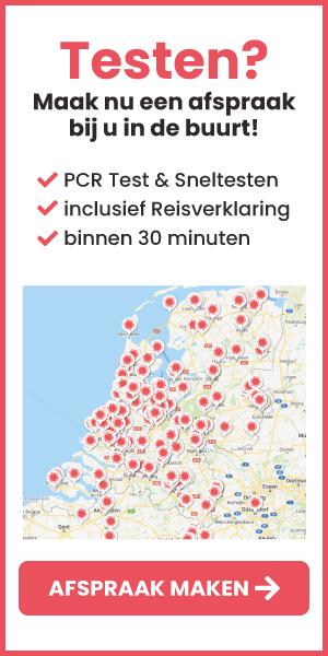 Kaart van Nederland met Corona Testlocaties